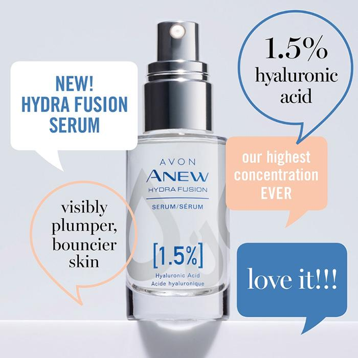 Hydra Fusion Hyaluronic Acid Serum Hyaluronic acid for skincare has many benefits. Avon's hyaluronic acid serum delivers powerful hydration that visibly plumps the look of expression and fine lines. Get lasting hydration for your dry skin with this moisture-boosting serum. See why customers keep buying this Avon best product.